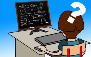 Girl doing maths on computer