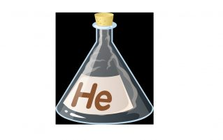 Conical flask labelled helium
