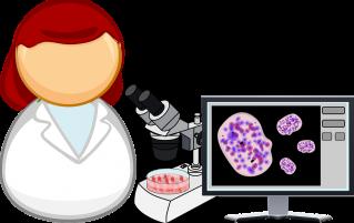 Cartoon woman and microscope